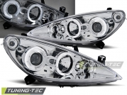 Передние фары Peugeot 307 angel eyes chrome