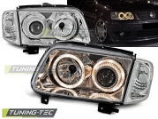 Передние фары VW Polo 3 6N2 angel eyes chrome