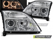 Передние фары Opel Vectra C angel eyes chrome