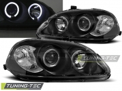 Передние фары Honda Civic 6 angel eyes black