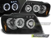 Передние фары Jeep Grand Cherokee WJ angel eyes black