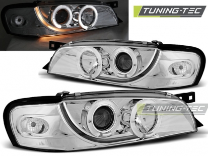 Передние фары Subaru Impreza 1 angel eyes chrome