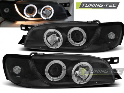 Передние фары Subaru Impreza 1 angel eyes black