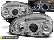 Передние фары Opel Corsa B angel eyes chrome