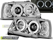 Передние фары Renault Clio 1 angel eyes chrome