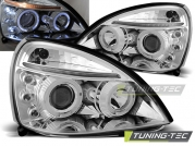 Передние фары Renault Clio 2 angel eyes chrome