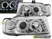 Передние фары Seat Cordoba 1/Ibiza 2/VW Polo 3 angel eyes chrome