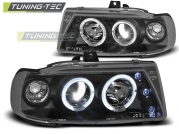 Передние фары Seat Cordoba 1/Ibiza 2/VW Polo 3 angel eyes black