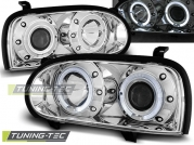 Передние фары VW Golf 3 angel eyes chrome