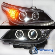 Передние фары Bmw 5 E60/E61 angel eyes black led indicator