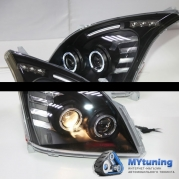 Передние фары angel eyes black для Toyota Land Cruiser Prado 120