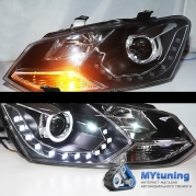 Передние фары VW Polo angel eyes LD type