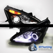 Передние фары Nissan Tiida angel eyes led bar