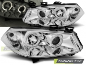 Передние фары Renault Megane 2 angel eyes chrome