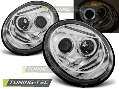 Передние фары VW New Beetle angel eyes chrome
