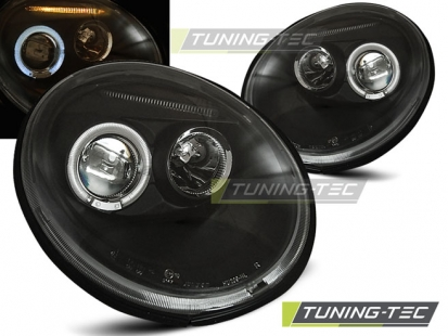 Передние фары VW New Beetle angel eyes black