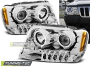 Передние фары Jeep Grand Cherokee WJ angel eyes chrome