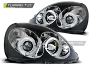 Передние фары Toyota Yaris angel eyes black