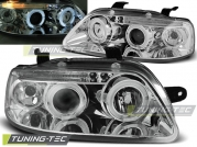 Передние фары Chevrolet Aveo angel eyes chrome