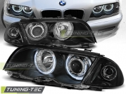Передние фары Bmw 3 E46 angel eyes ccfl black