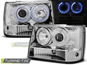 Передние фары Jeep Grand Cherokee ZJ angel eyes chrome