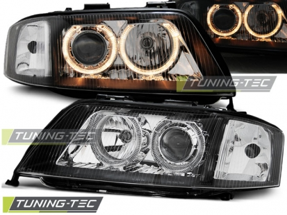 Передние фары Audi A6 C5 angel eyes black