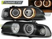 Передние фары Bmw 5 E39 angel eyes D2S/H7 black