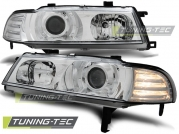 Передние фары Honda Prelude 4 angel eyes chrome