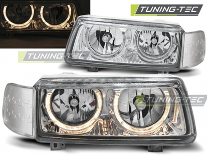 Передние фары VW Passat B4 angel eyes chrome