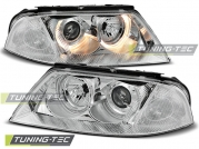 Передние фары VW Passat B5 GP angel eyes chrome