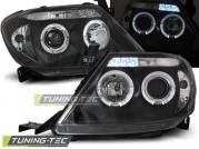 Передние фары Toyota Hilux angel eyes black