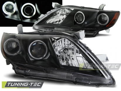 Передние фары Toyota Camry V40 angel eyes black
