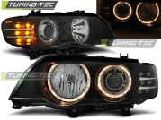 Передние фары angel eyes black led indicator XENON для BMW X5 E53