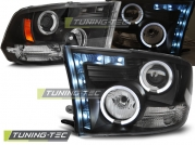 Передние фары Dodge Ram angel eyes black