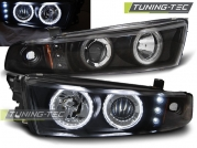 Передние фары Mitsubishi Galant 8 angel eyes ccfl black