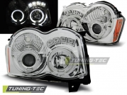 Передние фары Jeep Grand Cherokee WK angel eyes chrome