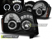 Передние фары Jeep Grand Cherokee WK angel eyes black