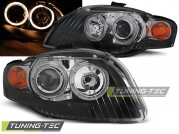 Передние фары Audi A4 B7 angel eyes black