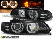 Передние фары Bmw 5 E39 angel eyes black led indicator