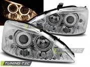 Передние фары Ford Focus 1 angel eyes chrome