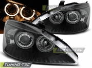 Передние фары Ford Focus 1 angel eyes black