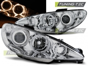 Передние фары Peugeot 206 angel eyes chrome