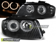 Передние фары Audi A3 8P angel eyes black
