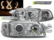 Передние фары Fiat Punto 1 angel eyes chrome