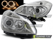 Передние фары Renault Clio 3 angel eyes chrome