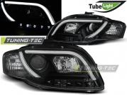 Передние фары Audi A4 B7 led tube lights black tru drl