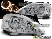 Передние фары Opel Corsa C angel eyes chrome