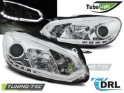 Передние фары VW Golf 6 tube lights tru drl chrome