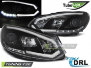 Передние фары VW Golf 6 tube lights tru drl black