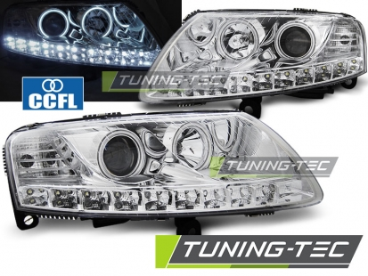 Передние фары Audi A6 C6 angel eyes led chrome
